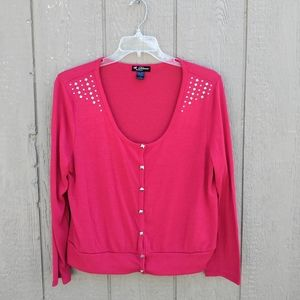 Delirious pink studded cardigan sweater